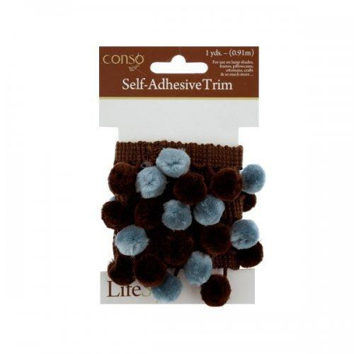 Conso 1 Yard Self Adhesive Brown Trim W/brown/teal Pom Poms (pack of 24)