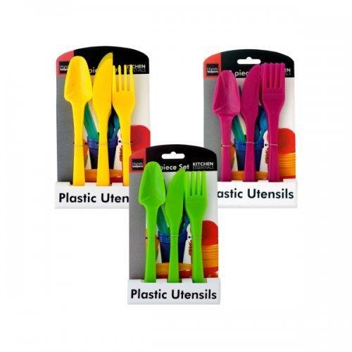 12 Piece Plastic Cutlery Set Assorted Colors (pack of 24)