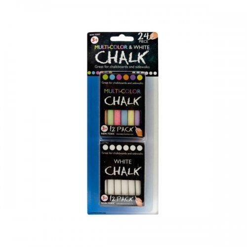2 Pack 12 Pc Multi Color/white Chalk (pack of 24)