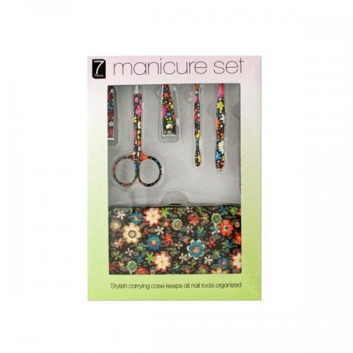 Manicure Set With Stylish Floral Carrying Case (pack of 4)