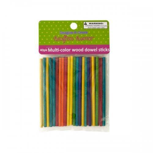 Multi-color Wood Dowel Sticks (pack of 12)