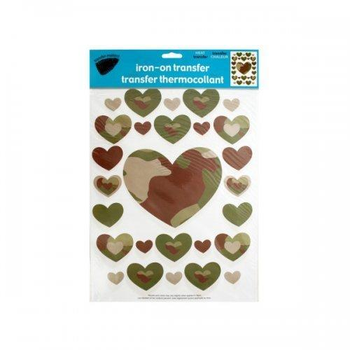 Iron-on Camouflage Hearts Transfers (pack of 24)