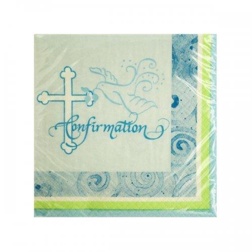 Blue Faithful Dove Confirmation Beverage Napkins (pack of 24)