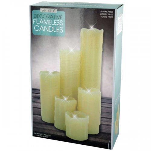 Decorative Flameless Pillar Candles Set (pack of 2)