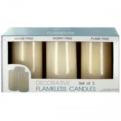 Decorative Flameless Vanilla Pillar Candles (pack of 2)