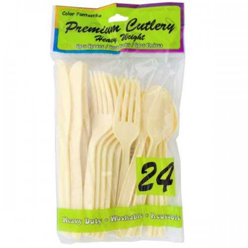 Cream Plastic Cutlery Set (pack of 16)