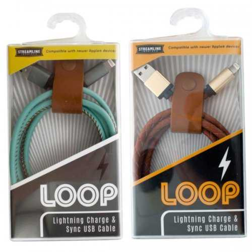 Loop Leatherette Iphone Lightning Charge & Sync Usb Cable (pack of 6)
