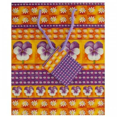 Medium Purple Floral Gift Bag (pack of 36)