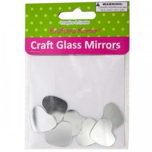 Mini Heart Shape Craft Glass Mirrors (pack of 18)