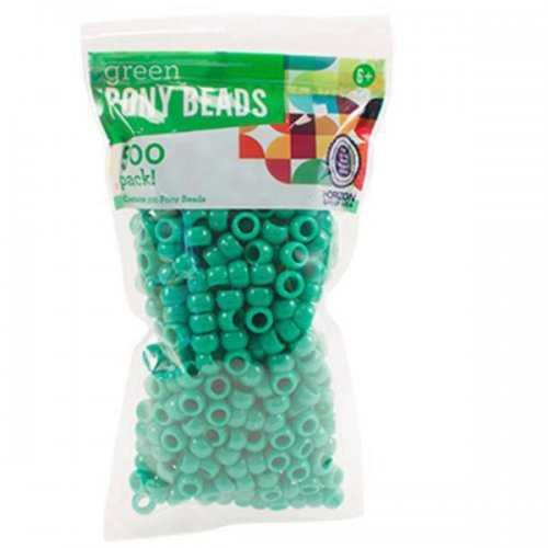 Green Plastic Pony Beads (pack of 20)