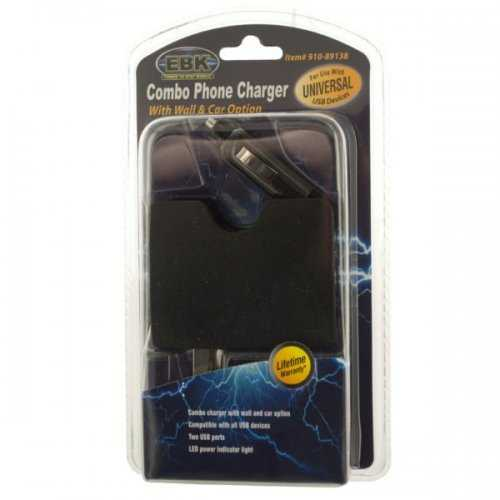 Universal Dual Port Usb Combo Wall & Car Phone Charger (pack of 6)