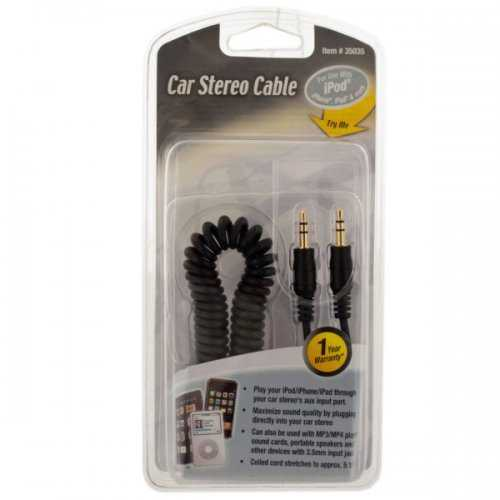 Coiled Car Stereo Auxiliary Cable (pack of 20)