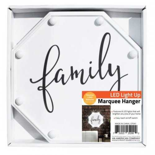 Family Led Marquee Hanging Wall Sign (pack of 4)