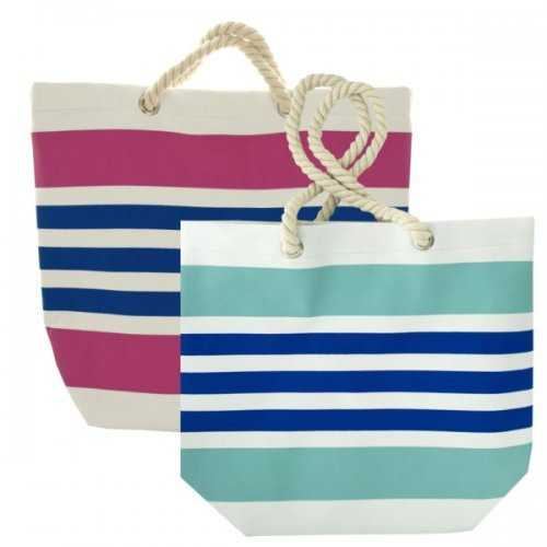 Striped Tote Bag With Rope Handles (pack of 4)