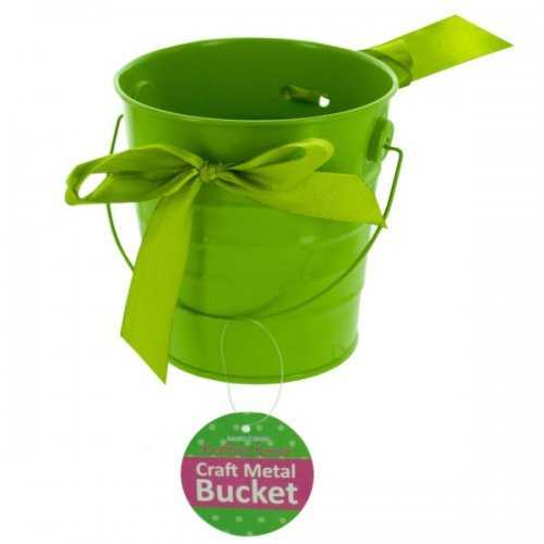 Mini Metal Craft Bucket With Ribbon (pack of 12)