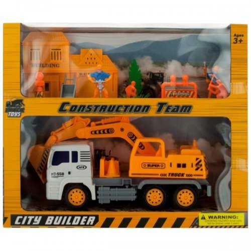 Friction Powered Loader Truck & Construction Team Set (pack of 2)