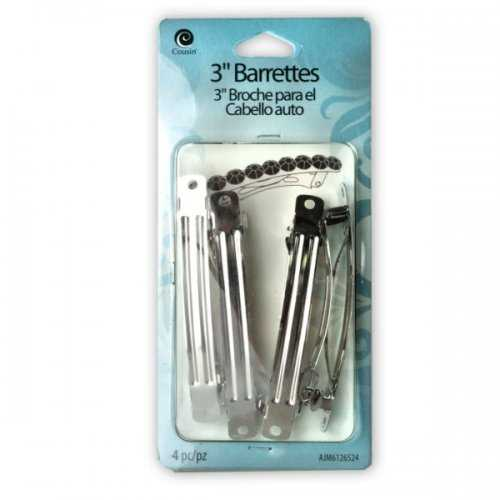 "3"" Metal Barrette 4 Pieces (pack of 24)"