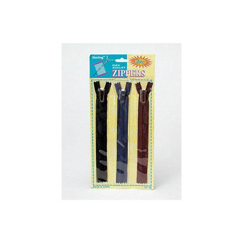 3 Pack Zippers (assorted Colors) (pack of 12)