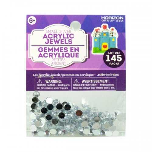 Small Silver Acrylic Jewels 145 Pack (pack of 36)