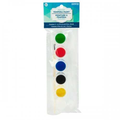 Tempera Primary Paint Pots With Brush (pack of 24)