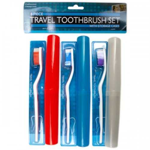6 Piece Travel Toothbrush Set With Cases (pack of 6)