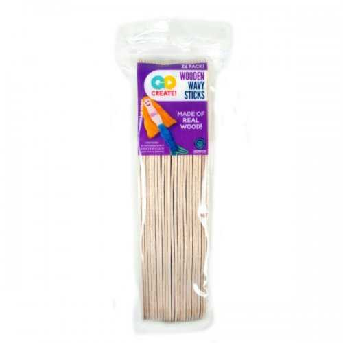24 Pack Wavy Wooden Craft Sticks (pack of 18)