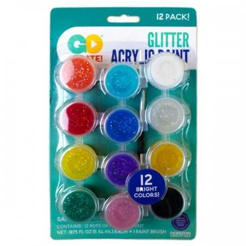 12 Pack Bright Color Glitter Paint Pots (pack of 24)
