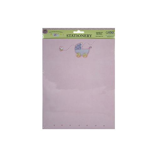 25 Pack Baby Carriage W/hearts Pink Stationery (pack of 24)
