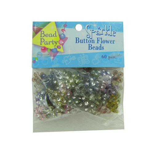 60pc Sparkle Button Flower Beads (pack of 24)