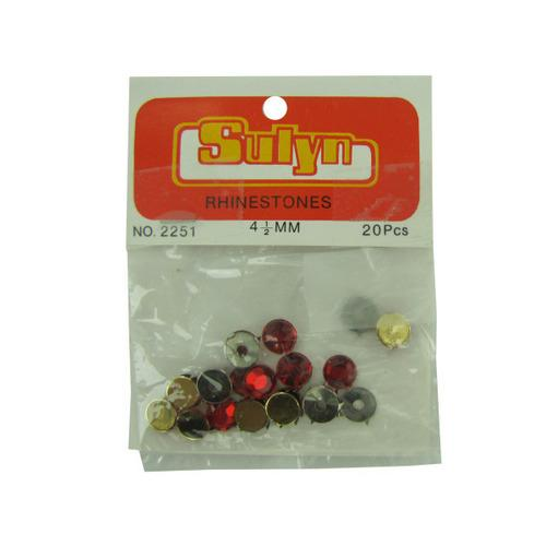 20 Pc 4.5mm Red Rhinestones (pack of 24)