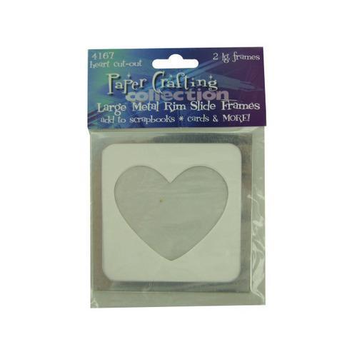 2 Lg Metal Rim Heart Cut-out Slide Frames (pack of 24)