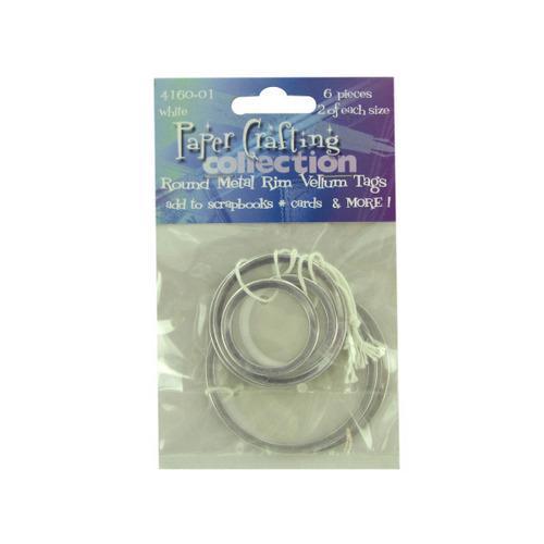 6 Pc Round Metal Rim White Vellum Tags (pack of 24)
