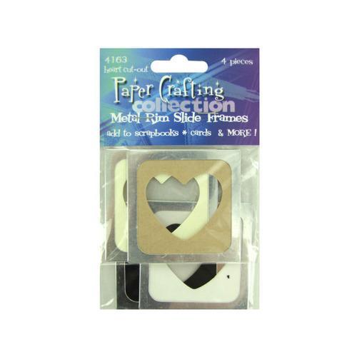 4 Pk Metal Rim Heart Cut-out Slide Frames (pack of 25)