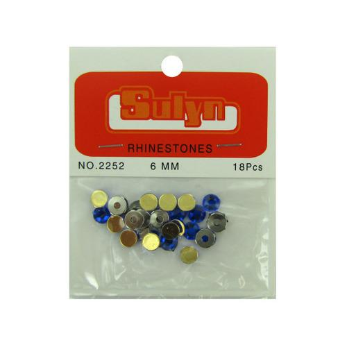 18 Pc 6mm Sapphire Rhinestones With Mounts (pack of 24)