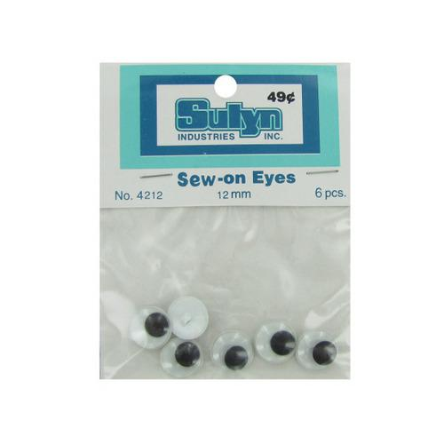 6 Pc 12mm Sew-on Eyes (pack of 24)