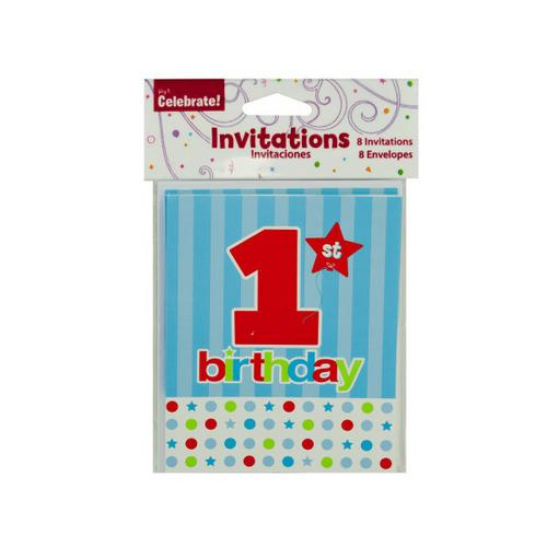 8 Pack 1st Birthday Invitations With Envelopes (pack of 24)