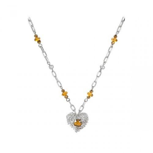 Single Silver Strand Necklace With Glass Beads And Heart Silver Accents (pack of 4)