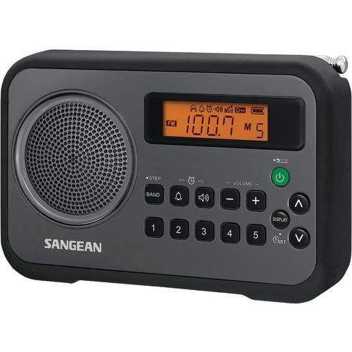 Sangean Am And Fm Digital Portable Receiver With Alarm Clock (black) (pack of 1 Ea)