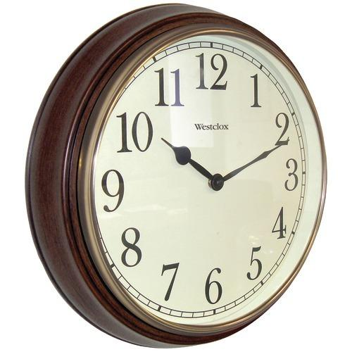 "Westclox 15.5"" Round Dark Woodgrain Clock (pack of 1 Ea)"