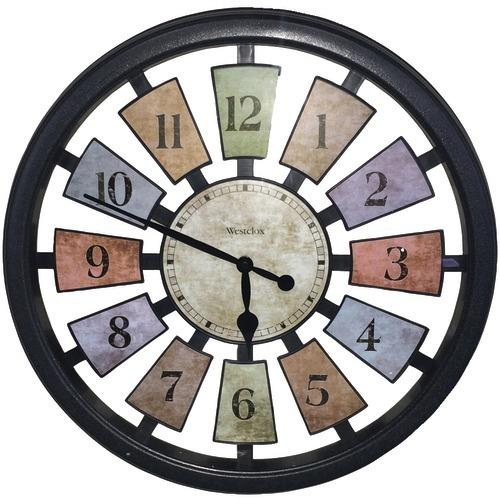 """Westclox 18"""" Round Colored Panels See-through Clock (pack of 1 Ea)"""