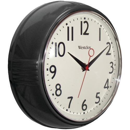 "Westclox 9.5"" 1950's Retro Black Case Convex Glass Clock (pack of 1 Ea)"