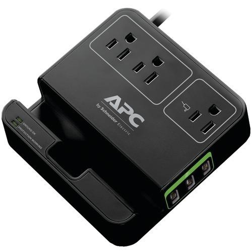 Apc 3-outlet Surgearrest Surge Protector With 3 Usb Ports (black) (pack of 1 Ea)