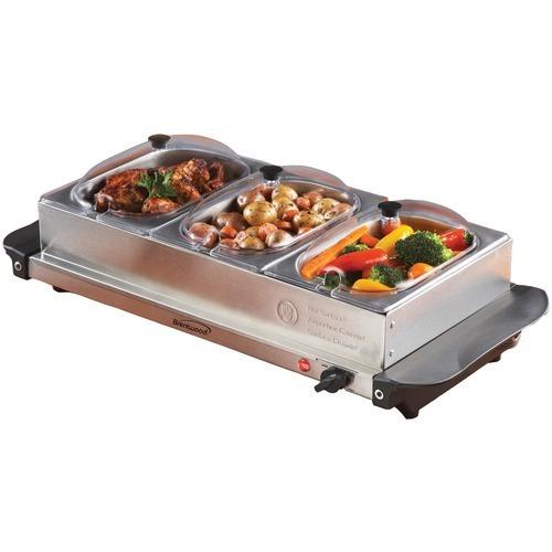 Brentwood Triple Buffet Server With Warming Tray & Three 1.5-quart Steel Pans (pack of 1 Ea)