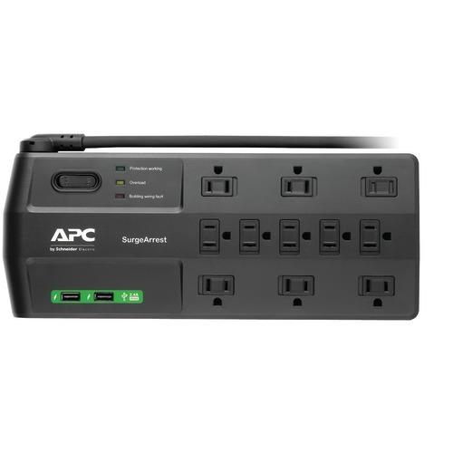 Apc 11-outlet Surgearrest Surge Protector With 2 Usb Charging Ports (pack of 1 Ea)