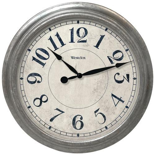 "Westclox 15.5"" Round Galvanized Finish Gray Wall Clock (pack of 1 Ea)"