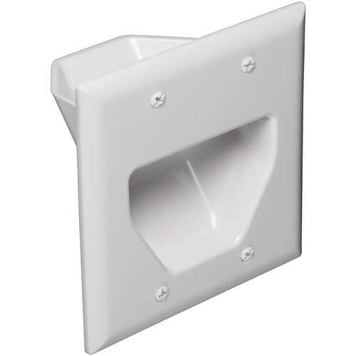 Datacomm Electronics 2-gang Recessed Cable Plate (white) (pack of 1 Ea)