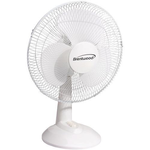 "Brentwood Koolzone 16"" Oscillating Desk Fan (white) (pack of 1 Ea)"