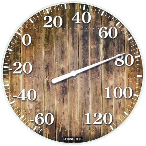 """Springfield Precision 10"""" Tempered Glass Dial Thermometer (barn Wood) (pack of 1 Ea)"""