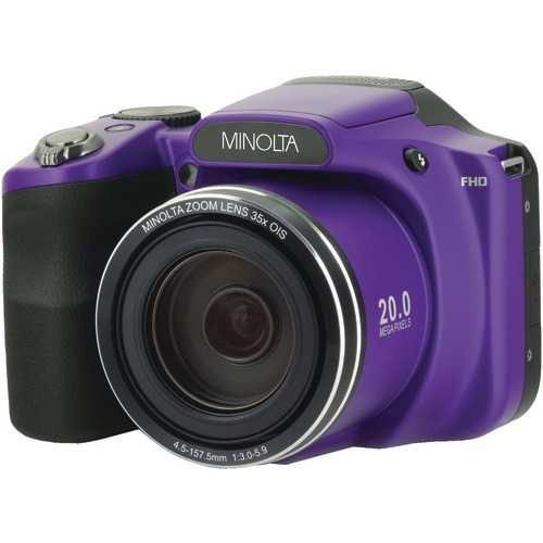 Minolta 20.0-megapixel 1080p Full Hd Wi-fi Mn35z Bridge Camera With 35x Zoom (purple) (pack of 1 Ea)