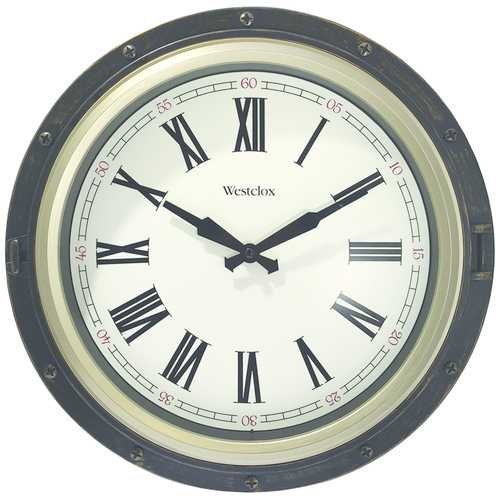 "Westclox 15.75"" Porthole 2-tone Wall Clock (pack of 1 Ea)"